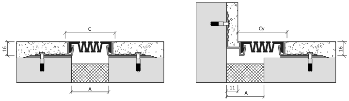Монтаж профиля для деформационного шва